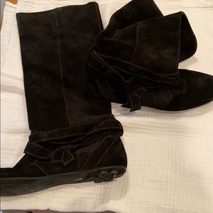 DVF black suede slouchy boots, 8, beautiful